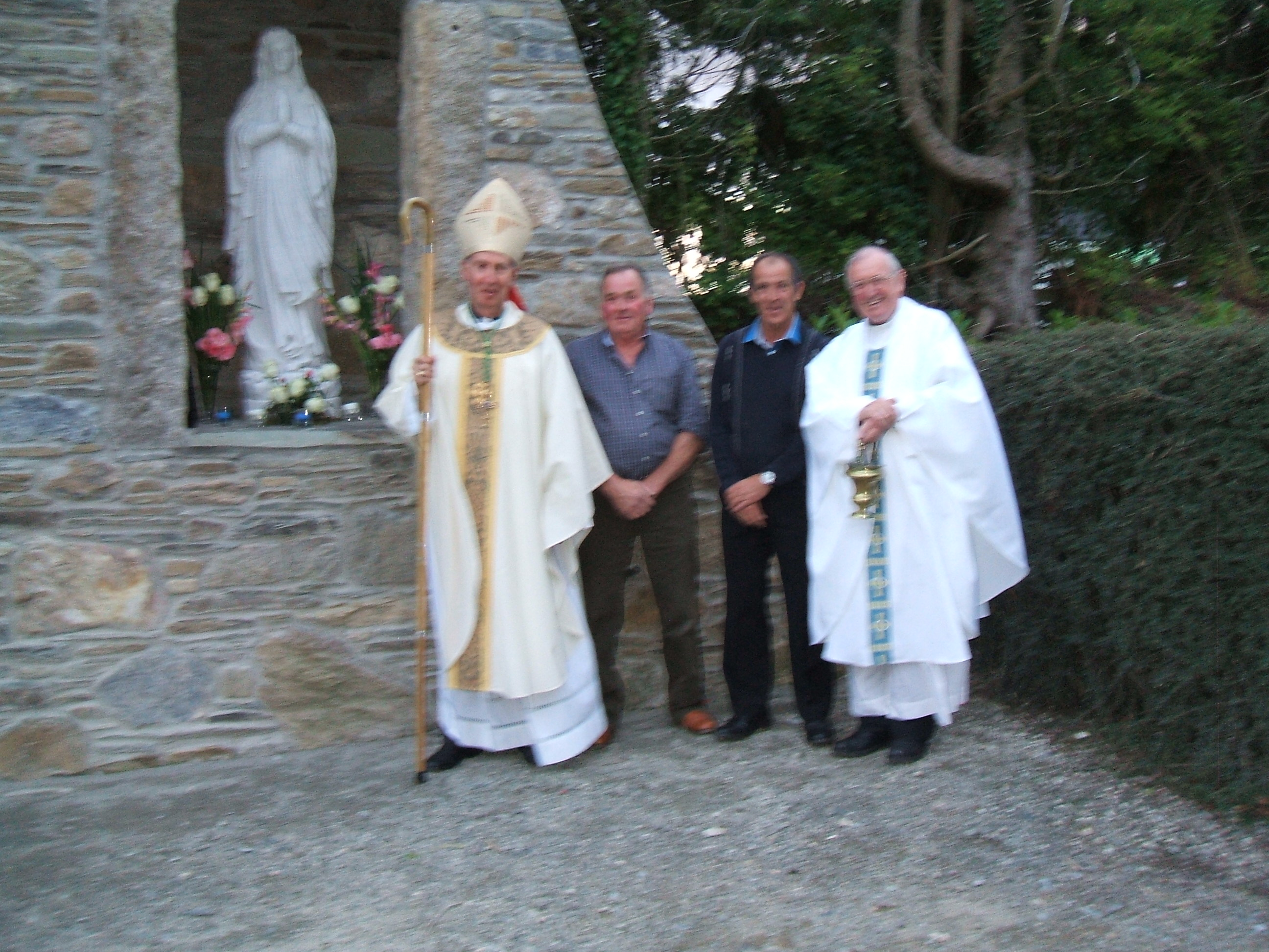 Bishop Denis with Fr. Pat Duffy and Mick Dunne & James Doyle who constructed the Grotto.